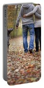 Couple And Dog Autumn Or Fall Portable Battery Charger
