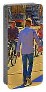 Couples Summer In The City Walking Biking Strolling With Baby Carriage Art Of Montreal Street Scene Portable Battery Charger