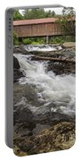 Covered Bridge And Waterfall Portable Battery Charger by Edward Fielding