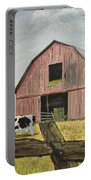 Cow And Barn Portable Battery Charger by Norm Starks