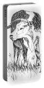 Cow In Pen And Ink Portable Battery Charger