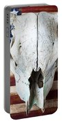 Cow Skull On Folk Art American Flag Portable Battery Charger by Garry Gay