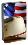 Cowboy Hat And American Flag Portable Battery Charger