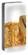 Cowboy Hat On Straw Bale Portable Battery Charger