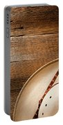 Cowboy Hat On Wood Portable Battery Charger