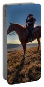 Cowboy Looks Out Over Historic Last Portable Battery Charger