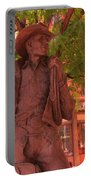 Cowboy Statue In Front Of The Brown Palace Hotel In Denver Portable Battery Charger