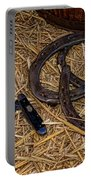 Cowboy Theme - Horseshoes And Whittling Knife Portable Battery Charger