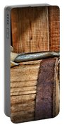 Cowboy Themed Wood Barrel And Spur Portable Battery Charger by Paul Ward