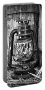 Cowboy Themed Wood Barrels And Lantern In Black And White Portable Battery Charger