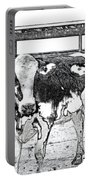 Cows Pencil Sketch Portable Battery Charger