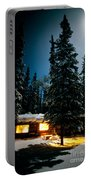 Cozy Log Cabin At Moon-lit Winter Night Portable Battery Charger