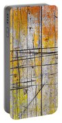 Cracked Wood Background Portable Battery Charger by Carlos Caetano