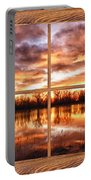 Crane Hollow Sunrise Barn Wood Picture Window Frame View Portable Battery Charger