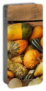 Crate Filled With Pumpkins And Gourts Portable Battery Charger