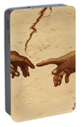 Creation Of Adam Hands A Study Coffee Painting Portable Battery Charger