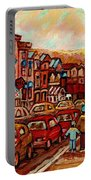 Crescent Street Family Stroll  Montreal City In Autumn City Scene Paintings Carole Spandau Portable Battery Charger
