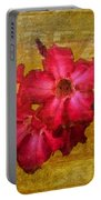 Crimson Floral Textured Portable Battery Charger