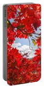 Crimson Red Leaves Background Portable Battery Charger