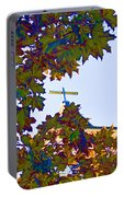 Cross Framed By Leaves Portable Battery Charger
