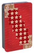Cross Through Sparkle Stars On Red Silken Base Portable Battery Charger by Navin Joshi