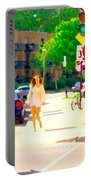 Crossing Notre Dame At Charlevoix To Dilallo Burger Montreal Summer City Scene Carole Spandau Portable Battery Charger