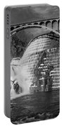 Croton Dam Bw Portable Battery Charger by Susan Candelario