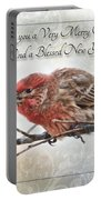 Crouching Finch Christmas Greeting Card Portable Battery Charger