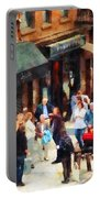 Crowded Sidewalk In New York Portable Battery Charger
