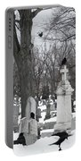 Crows In Gothic Winter Wonderland Portable Battery Charger