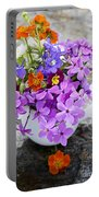 Cup Full Of Wildflowers Portable Battery Charger by Edward Fielding