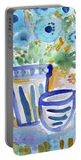 Cups And Flowers-  Watercolor Floral Painting Portable Battery Charger by Linda Woods