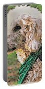 Curly White Dog Portable Battery Charger