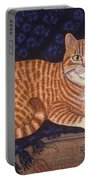 Curry The Cat Portable Battery Charger by Linda Mears