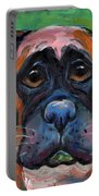 Cute Boxer Puppy Dog With Big Eyes Painting Portable Battery Charger by Svetlana Novikova
