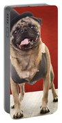 Cute Pug Dog In Vest And Top Hat Portable Battery Charger