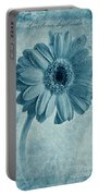 Cyanotype Gerbera Hybrida With Textures Portable Battery Charger