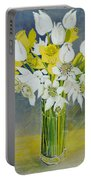 Daffodils And White Tulips In An Octagonal Glass Vase Portable Battery Charger