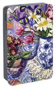 Daffodils Tulips And Iris In A Jacobean Blue And White Jug With Sanderson Fabric And Primroses Portable Battery Charger