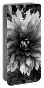 Dahlia In Black And White Portable Battery Charger