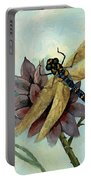 Dahlia With Dragonfly Resting Portable Battery Charger