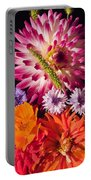 Dahlia Zinnia Bachelor's Buttons Flowers Portable Battery Charger