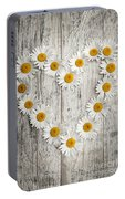 Daisy Heart On Old Wood Portable Battery Charger
