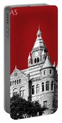 Dallas Skyline Old Red Courthouse - Dark Red Portable Battery Charger