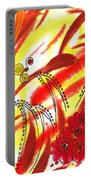 Dancing Lines And Flowers Abstract Portable Battery Charger