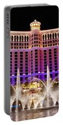 Dancing Waters - Bellagio Hotel And Casino At Night Portable Battery Charger