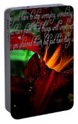 Dark Red Day Lily And Quote Portable Battery Charger