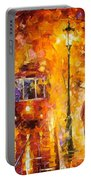 Date By The Trolley - Palette Knife Oil Painting On Canvas By Leonid Afremov Portable Battery Charger