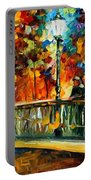 Date On The Bridge - Palette Knife Oil Painting On Canvas By Leonid Afremov Portable Battery Charger