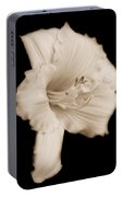 Daylily Flower Portrait Sepia Portable Battery Charger